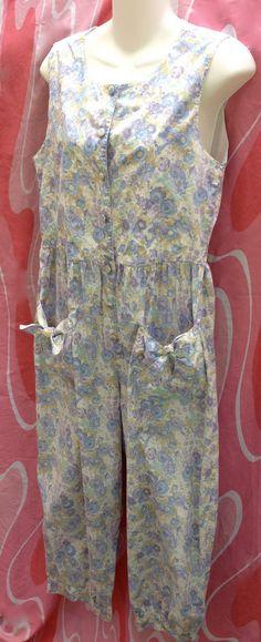 8f6b8b966d7d Vintage 80 s Laura Ahsley Jumper Romper Purple Blue Floral Pattern Size L  MINT