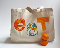 Organic Tote Bag for the Market in orange / eco friendly summer food bag with fabric letters (ONLY 1 - ready to ship) on Etsy