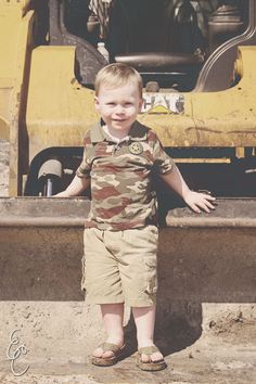 Photography: Emily Cunniff Photography Two Year Old Photo Shoot Jacksonville, FL  #emilycunniffphotography #photography #childrensphotography #jacksonville #florida #jaxphotographer #lifestylephotographer #lifestylephotography #twoyearold #toddler #babyboy #constructions #trucks #dirt #camo