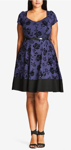 Plus Size Flocked Fit & Flare Dress