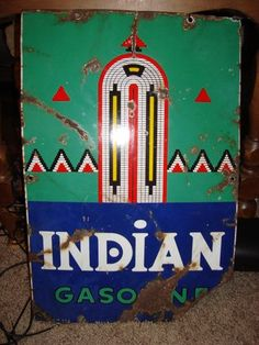 Vtg 1941 Indian Gasoline enamel sign gas oil antique motorcycle old advertising
