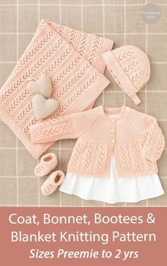 """Baby Knitting Pattern Coat, Bonnet, Bootees and Blanket Sirdar 4508 Matching lace cardigan baby coat, hat, booties, and baby blanket. Sizes Premature 10.25"""" Chest, Premature 12"""" Chest, Premature 14"""" Chest, 0-6 months, 6-12 months, 1-2 years. Fingering weight yarn. Coat, Bonnet, Bootees and Blanket in Sirdar Snuggly 4 Ply (4508)"""