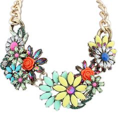 Saskia Spring Bouquet Necklace £15.00  Make a bold statement with our spring bouquet design necklace. The necklace features several contrasting coloured gemstones and a variety of different types of flowers. The assortment of colours makes it easy to accessorise a number of different outfits – a vibrant accessory to give any outfit a burst of personality.