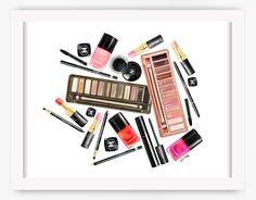 NEW Chanel Collage Makeup Print Fashion by aprilmarionART on Etsy
