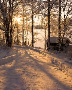 Road by the lake in winter (Finland) by Valterri Tursas