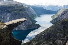 Trolltunga, Norway, Hordaland Fylke, Norway — by Earth Trekkers. #TroveOn, This was an amazing hike in Norway! It is a 23 km round trip hike out to the viewpoint of Trolltunga (the...
