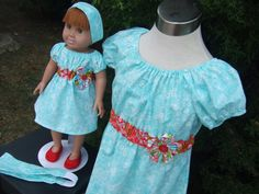 American Girl Doll Clothes - Dollie and Me Matching 4pc Set - Peasant Dress Head Bands - Aqua Floral Birds n Red Empire Waist on Etsy, $37.99