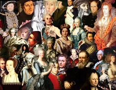 Elizabeth I, Marie Antoinette, Louis XIV, Queen Victoria, Christian IV of Denmark,  Anne Boleyn, Friderich Struensee, Maria Theresia, Louis XV, Princesse de Lamballe, Pope Alexander VI, Martin Luther, Christian VII of Denmark, Louis XVI, Madame de Pompadour, Napoleon, Thomas Cromwell, Karen Gyldenstjerne, Mary I, Leonardo da Vinci, Mozart, Galileo Galilei, Georgiana Cavendish, Catherine the Great, Tordenskjold, Catherine Parr and Maria Carolina of Naples.