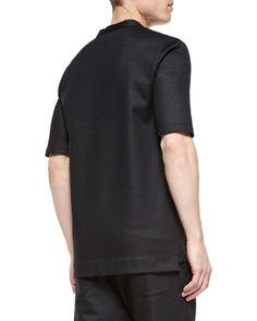 Cotton Button-Down Baseball Jersey Shirt, Black