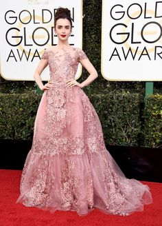Lily Collins Dress: Zuhair Murad Couture Celebrity Red Carpet, Celebrity Beauty, Meat Dress, Valentino Gowns, Green Gown, Look Thinner, Red Carpet Looks, Formal Dresses, Wedding Dresses