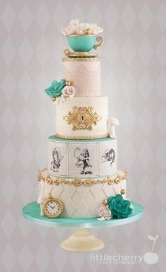 This refined take on the iconic Alice in Wonderland tea party. | 16 Perfect Disney Wedding Cakes You'll Want To Make Part Of Your World