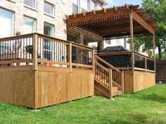 I love it, except instead of the pergola, I would do a screened in porch. (Austin Dream Decks)