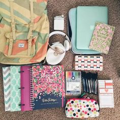School supplies for this school year. Where do u shop for school supplies? School Supplies Organization, Back To School Supplies, School Supplies Highschool, College School Supplies, Office Supplies, College Problems, Back 2 School, Middle School, School Stuff