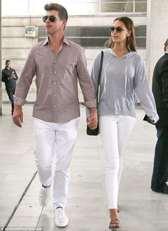 Bon voyage! Robin Thicke and his girlfriend, April Love Geary, were spotted arriving at Pa...