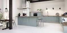 There's one look our editors agree isn' going anywhere: industrial design. Here's how to re-create the hip loft look and warehouse style at home. Glossy Kitchen, Blue Kitchen Cabinets, Smeg Kitchen, Decor Interior Design, Interior Decorating, Light Blue Kitchens, Kitchen Decor, Kitchen Design, Kitchens