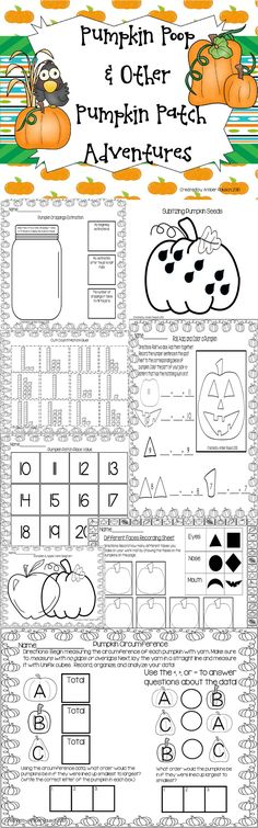 This product includes pumpkin activities for Halloween and activities that are appropriate any time in the Fall. Kindergarten Rocks, Kindergarten Activities, Halloween Activities, Holiday Activities, Halloween Crafts, Math Work, School Fun, School Ideas, Pumpkins
