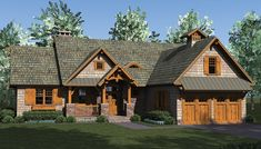 Rustic Craftsman Lodge - 17742LV | Craftsman, Mountain, Northwest, Vacation, 1st Floor Master Suite, Bonus Room, Butler Walk-in Pantry, CAD Available, PDF, Split Bedrooms | Architectural Designs