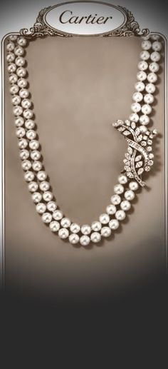 Pearls with diamond clasp