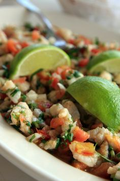 Ceviche de pescado (fish ceviche) One of my friend's recipe is similar to this one, only with finely diced cucumber and celery (which makes it a little crispy ) and ...diced avocado!!! Delisshhhh!!!!