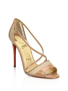 Christian Louboutin Silkova Patent Leather & Mesh Sandals