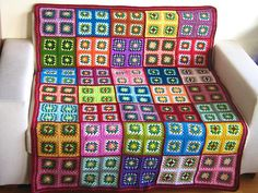 Granny square afghan wrap blanket colorful crochet by turtlemurtle Crochet Square Blanket, Granny Square Afghan, Crochet Squares, Crochet Granny, Crochet Blanket Patterns, Crochet Table Mat, Crochet Designs, Crochet Ideas, Crochet Projects
