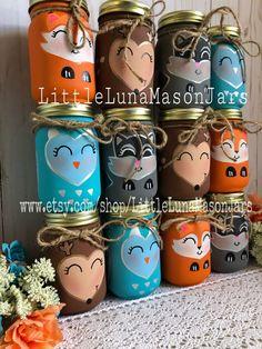 Woodland creature mason jar set of 4 pint jars baby shower Baby Shower Cakes, Baby Shower Parties, Baby Boy Shower, Baby Shower Decorations For Boys, Baby Shower Themes, Forest Baby Showers, Woodland Baby, Woodland Creature Baby Shower, Woodland Theme