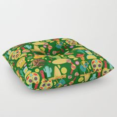 Fiesta Time! Mexican Icons Floor Pillow  by #Gravityx9 at #Society6 ~ #VivaMexico! Fun illustrations of sombreros, tacos, calaveras, maracas and more!! Pillows are available in several sizes.  Find this design on fashion, cards, tote bags, electronic care and more! #CincoDeMayo #Mexicantheme