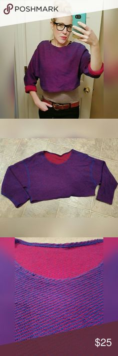 Awesome, AMERICAN APPAREL, reversible sweater!! Great condition. Few minor snags that are barely noticeable.  Cropped fit.  95% cotton. 5% acrylic. American Apparel Tops Sweatshirts & Hoodies