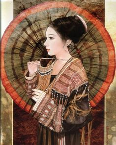 The artist Chen Shu Fen (陈淑芬) is best known for her paintings of beautiful women and handsome men. She has worked on a project in which she painted 56 Chinese ethnic groups from China. Each staying true to there original ethnic clothing.