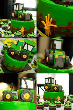 fence around green iced cake - tractor with smash cake on top?