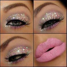 Maquillaje brillos rosa