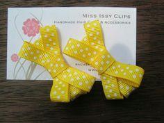 Yellow polka dots hair clips