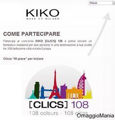 Buono sconto Kiko del 20% e concorso a premi per provare a vincere un weekend - http://www.omaggiomania.com/concorsi-a-premi/concorso-premi-kiko-cosmetics-italia-vinci-week-end-per-2-persone-e-subito-per-te-buono-sconto-20/