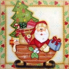 CHRISTMAS SANTA, SLEIGH, TREE AND TOYS CLIP ART