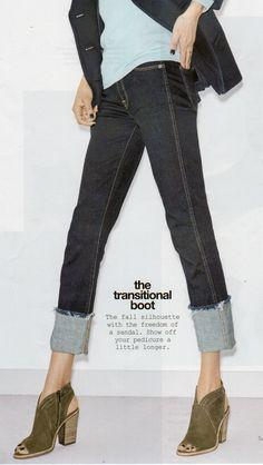 Big cuff jeans w/ sandal booties