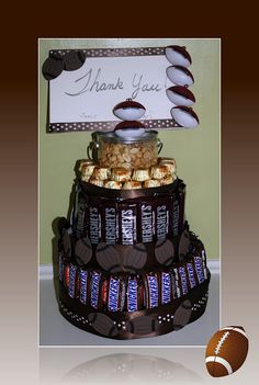 Health, Beauty, Children and Family: How to Make a Football Snack Cake Corporate Gift Baskets, Corporate Gifts, Cookie Bouquet, Candy Bouquet, Locker Room Decorations, Chocolates, Holiday Crafts, Fun Crafts, Football Snacks