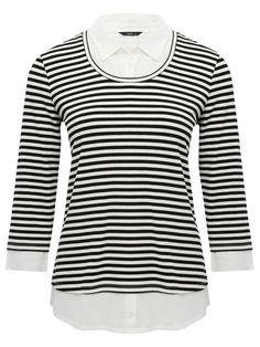 M&Co. Women Two in one stripe top