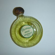 Rare Art Deco Houbigant Perfume Bottle Premier Mai Lily of the Valley Mini Perfume Bottle French Miniature Brass Glass Collectible Sealed