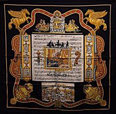 ffb24d6f38c Hermès Auth Hermes IN SALZBURG Loic Dubigeon Music Notes Print Silk Scarf  NIB Black Hermes Scarves