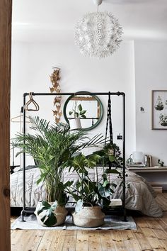 Invite nature into your sleep space to boost everyday- wellbeing. Go big on plants an natural materials. Bedroom Plants, Small Room Bedroom, Blue Bedroom, My Room, Bedroom Eyes, Master Bedroom, Wooden Wall Panels, Japanese Interior, Bed Wall
