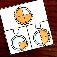 Adding fractions can be confusing for some students. Help them by modeling addition of fractions with these free pie puzzles. Add Fractions With Unlike Denominators, Addition Of Fractions, Adding Fractions, Kindergarten Math Worksheets, Worksheets For Kids, Printable Worksheets, Maths, Interactive Activities, Activities For Kids