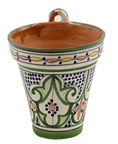 Moroccan Ceramic Hanging Flower Pot With Drainage Hole Planter Learn More By Visiting
