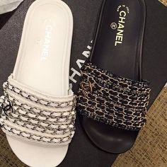 Follow   simcasse Chanel Slippers, Chanel Shoes Flats, Women s Shoes, Nike  Slippers 95ebc432ea8