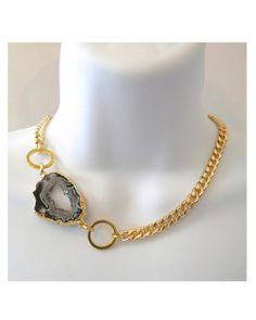 Gold Plated Druzy Agate Necklace - JewelMint
