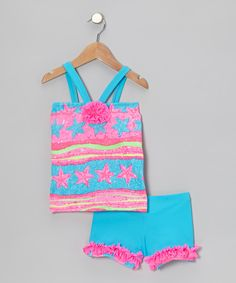 Take a look at this Fuchsia & Turquoise Flower Tank & Shorts - Toddler & Girls on zulily today!