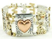 MULTICOLOR HEART LOVE FAITH HOPE STRETCH METAL BRACELET