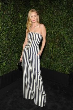 how amazing does Rosie Huntington-Whiteley look in this striped Chanel jumpsuit?
