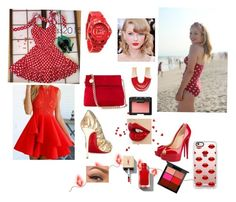 """""""Red hot"""" by simple-as-louise on Polyvore featuring tabbisocks, RumbaTime, Christian Louboutin, Karen Millen, Casetify, Rosantica, NARS Cosmetics and MAC Cosmetics"""