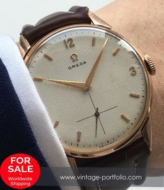 Stunning 38mm Omega Oversize Jumbo watch with honeycomb dial in a 18 ct pink gold case #omega #omegawatches #omegavintage