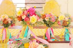 Colorful bouquets with pretty ribbon
